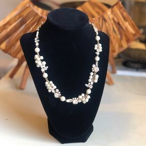 J. Crew Crystal and Pearl Costume Necklace